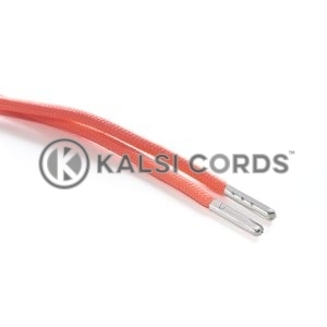 T621 5mm Round Polyester Draw String Fluorescent Pink 2 Silver Metal Tip Kalsi Cords