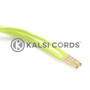 T621 5mm Round Polyester Draw String Fluorescent Yellow 2 Gold Metal Tip Kalsi Cords