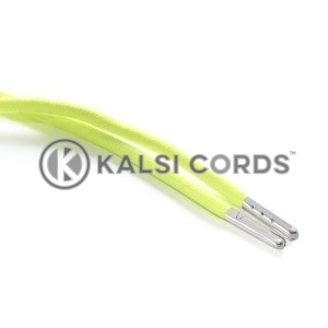T621 5mm Round Polyester Draw String Fluorescent Yellow 2 Silver Metal Tip Kalsi Cords