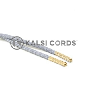 T621 5mm Round Polyester Draw String Frosted Silver 2 Gold Metal Tip Kalsi Cords