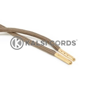 T621 5mm Round Polyester Draw String Light Fawn 2 Gold Metal Tip Kalsi Cords