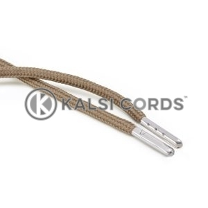 T621 5mm Round Polyester Draw String Light Fawn 2 Silver Metal Tip Kalsi Cords