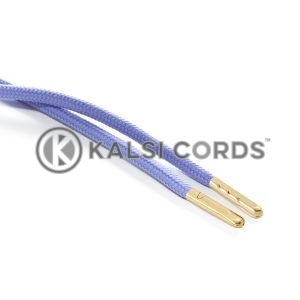 T621 5mm Round Polyester Draw String Lilac 2 Gold Metal Tip Kalsi Cords
