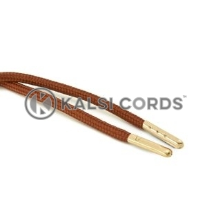 T621 5mm Round Polyester Draw String Nutmeg 2 Gold Metal Tip Kalsi Cords