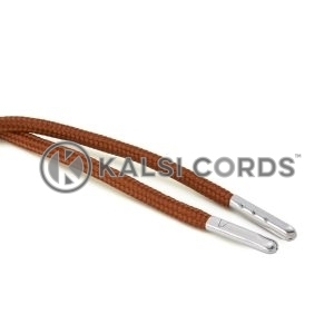 T621 5mm Round Polyester Draw String Nutmeg 2 Silver Metal Tip Kalsi Cords