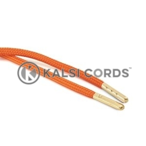 T621 5mm Round Polyester Draw String Orange 2 Gold Metal Tip Kalsi Cords