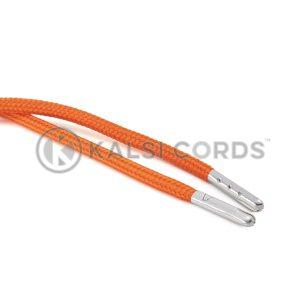 T621 5mm Round Polyester Draw String Orange 2 Silver Metal Tip Kalsi Cords