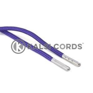 T621 5mm Round Polyester Draw String Purple 2 Silver Metal Tip Kalsi Cords