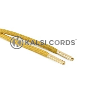 T621 5mm Round Polyester Draw String Sovereign Gold 2 Gold Metal Tip Kalsi Cords
