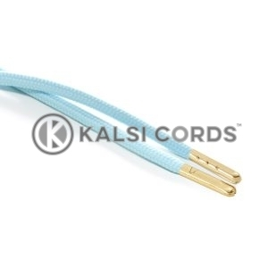 T621 5mm Round Polyester Draw String Turquoise 2 Gold Metal Tip Kalsi Cords