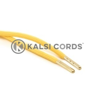 T621 5mm Round Polyester Draw String Yellow 2 Gold Metal Tip Kalsi Cords