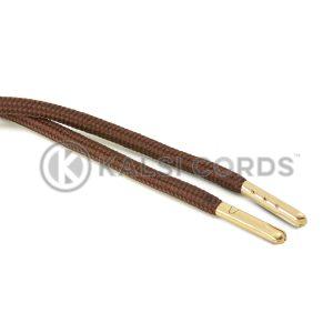 T621 5mm Round Polyester Draw String York Brown 2 Gold Metal Tip Kalsi Cords