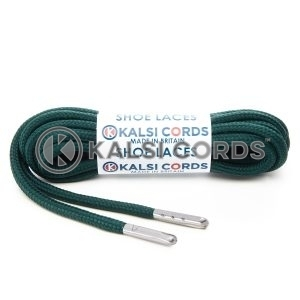 T621 5mm Round Polyester Shoe Laces Cedar Green 1 Silver Metal Tip Kalsi Cords
