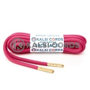 T621 5mm Round Polyester Shoe Laces Cerise Pink 1 Gold Metal Tip Kalsi Cords