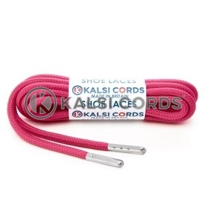 T621 5mm Round Polyester Shoe Laces Cerise Pink 1 Silver Metal Tip Kalsi Cords