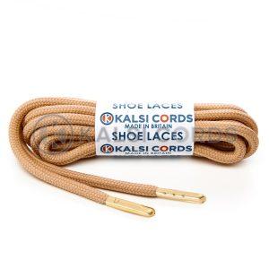 T621 5mm Round Polyester Shoe Laces Dark Beige 1 Gold Metal Tip Kalsi Cords