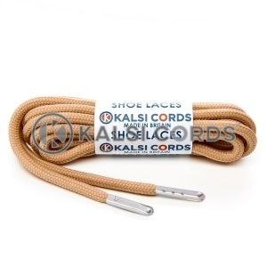 T621 5mm Round Polyester Shoe Laces Dark Beige 1 Silver Metal Tip Kalsi Cords