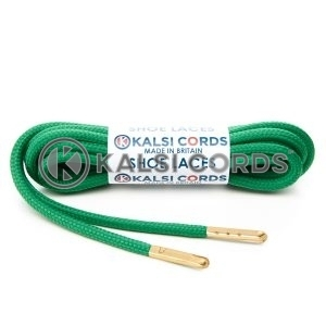 T621 5mm Round Polyester Shoe Laces Emerald Green 1 Gold Metal Tip Kalsi Cords