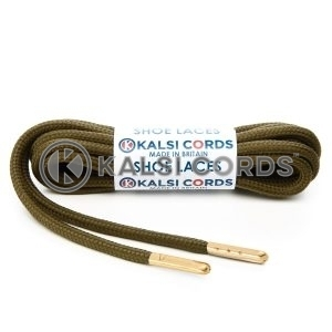 T621 5mm Round Polyester Shoe Laces Everglade 1 Gold Metal Tip Kalsi Cords