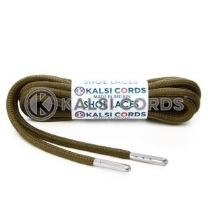 T621 5mm Round Polyester Shoe Laces Everglade 1 Silver Metal Tip Kalsi Cords