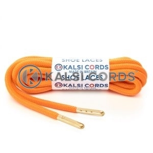 T621 5mm Round Polyester Shoe Laces Fluorescent Orange 1 Gold Metal Tip Kalsi Cords
