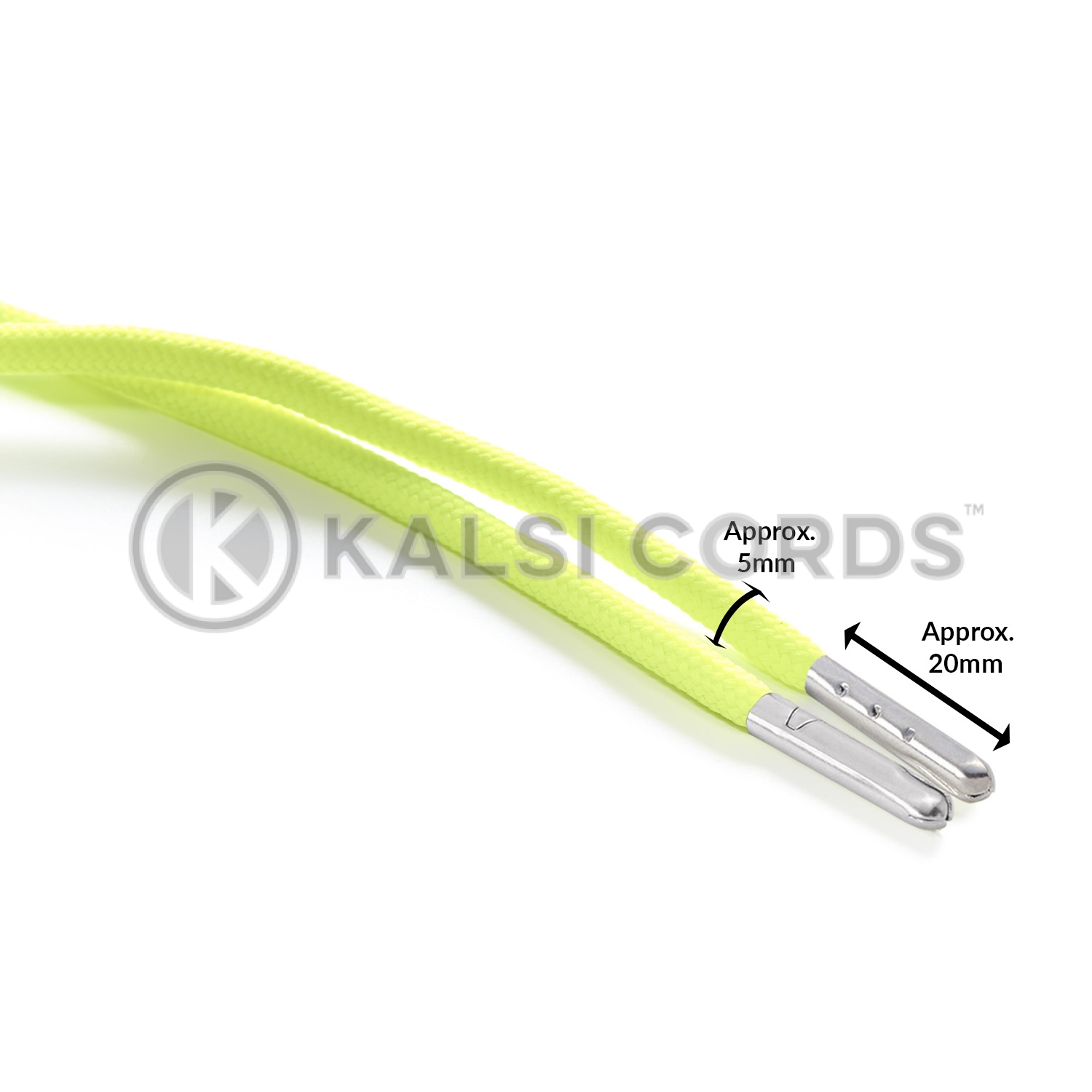 T621 5mm Round Polyester Shoe Laces Fluorescent Yellow Edit 3 Silver Metal Tip Kalsi Cords