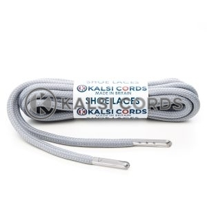 T621 5mm Round Polyester Shoe Laces Frosted Silver 1 Silver Metal Tip Kalsi Cords