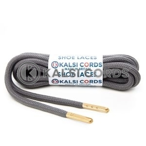 T621 5mm Round Polyester Shoe Laces Grey 1 Gold Metal Tip Kalsi Cords