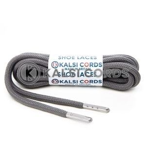 T621 5mm Round Polyester Shoe Laces Grey 1 Silver Metal Tip Kalsi Cords