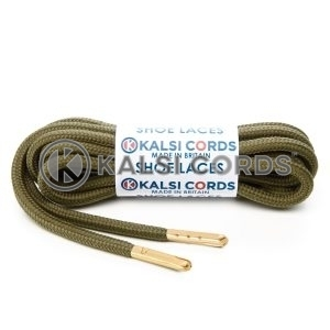 T621 5mm Round Polyester Shoe Laces Khaki 1 Gold Metal Tip Kalsi Cords