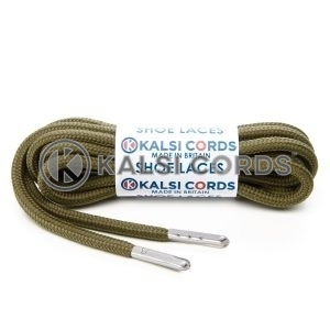 T621 5mm Round Polyester Shoe Laces Khaki 1 Silver Metal Tip Kalsi Cords