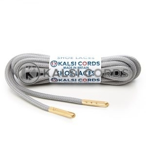 T621 5mm Round Polyester Shoe Laces Light Grey 1 Gold Metal Tip Kalsi Cords