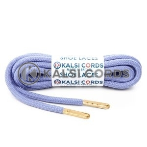 T621 5mm Round Polyester Shoe Laces Lilac 1 Gold Metal Tip Kalsi Cords