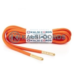 T621 5mm Round Polyester Shoe Laces Orange 1 Gold Metal Tip Kalsi Cords