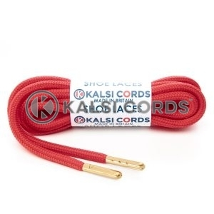 T621 5mm Round Polyester Shoe Laces Rose Madder Red 1 Gold Metal Tip Kalsi Cords