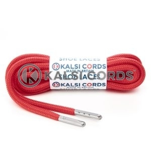 T621 5mm Round Polyester Shoe Laces Rose Madder Red 1 Silver Metal Tip Kalsi Cords