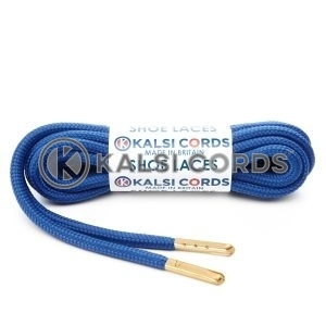 T621 5mm Round Polyester Shoe Laces Royal Blue 1 Gold Metal Tip Kalsi Cords