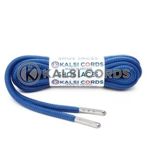 T621 5mm Round Polyester Shoe Laces Royal Blue 1 Silver Metal Tip Kalsi Cords