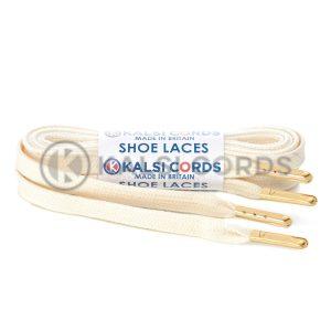 C242 7mm Flat Tubular Premium Cotton Shoe Laces Natural Undyed 1 Gold Metal Tip Kalsi Cords