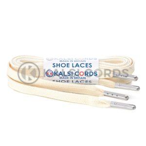 C242 7mm Flat Tubular Premium Cotton Shoe Laces Natural Undyed 1 Silver Metal Tip Kalsi Cords