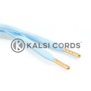 R1176 9mm Flat Tubular Draw String Baby Blue 2 Gold Metal Tips Kalsi Cords