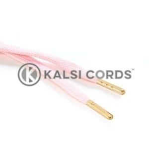 R1176 9mm Flat Tubular Draw String Baby Pink 2 Gold Metal Tips Kalsi Cords