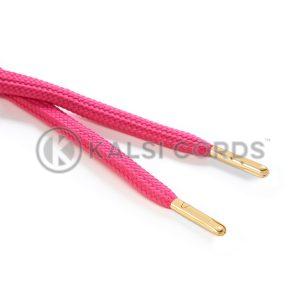 R1176 9mm Flat Tubular Draw String Cerise Pink 2 Gold Metal Tips Kalsi Cords