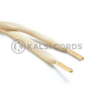 R1176 9mm Flat Tubular Draw String Cream 2 Gold Metal Tips Kalsi Cords