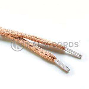 R1176 9mm Flat Tubular Draw String Dark Beige 2 Silver Metal Tips Kalsi Cords