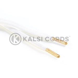 R1176 9mm Flat Tubular Draw String Ecru off white 2 Gold Metal Tips Kalsi Cords