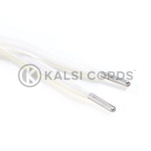 R1176 9mm Flat Tubular Draw String Ecru off white 2 Silver Metal Tips Kalsi Cords