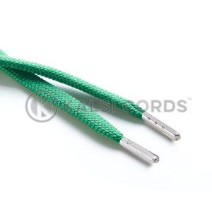 R1176 9mm Flat Tubular Draw String Emerald Green 2 Silver Metal Tips Kalsi Cords