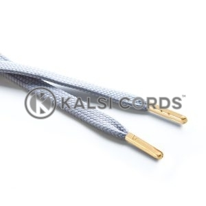 R1176 9mm Flat Tubular Draw String Frosted Silver 2 Gold Metal Tips Kalsi Cords