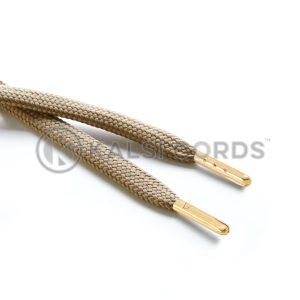 R1176 9mm Flat Tubular Draw String Light Fawn 2 Gold Metal Tips Kalsi Cords